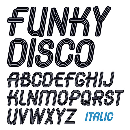 Set of vector italic capital funky alphabet letters isolated for use in design for karaoke club advertising Illustration