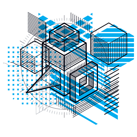 Isometric abstract background with linear dimensional shapes, vector 3d mesh elements. Composition of cubes, hexagons, squares, rectangles and different abstract elements.