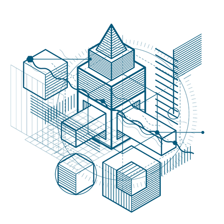 Vector background with abstract isometric lines and figures. Template made with cubes, hexagons, squares, rectangles and different abstract elements.