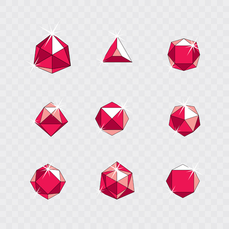 Set of vector glossy red ruby gems illustrations. Creative business logo. Illustration