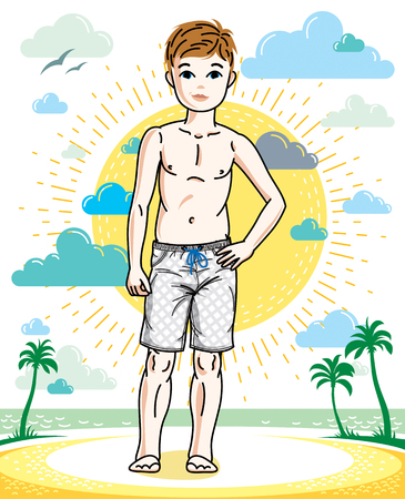 Cute little teenager boy standing wearing fashionable beach shorts. Vector human illustration. Childhood lifestyle cartoon.
