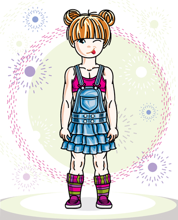 Little redhead girl toddler standing in fashionable casual clothes. Vector kid illustration.  Illustration