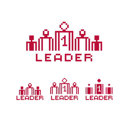 Vector pixel icon isolated, 8bit graphic element. Leader concept, number one between a team of managers. Simplistic digital sign created in business theme.