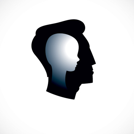 Psychology vector created with man head profile and little child boy inside, inner child concept, origin of human individuality and psychic problems. Psychotherapy and psychoanalysis concept.
