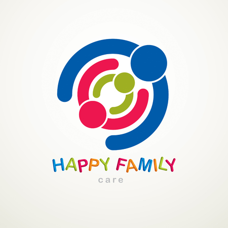 Happy family vector  or icon created with simple geometric shapes. Tender and protective relationship of father, mother and child. Together as one system relations. Ilustração