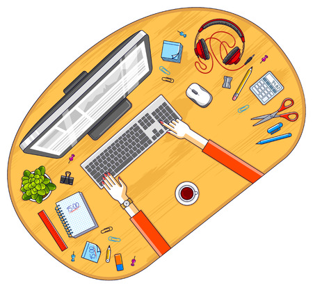 Office desk workspace top view with hands of office employee or entrepreneur, PC computer and diverse stationery objects for work. All elements are easy to use separately. Vector illustration.
