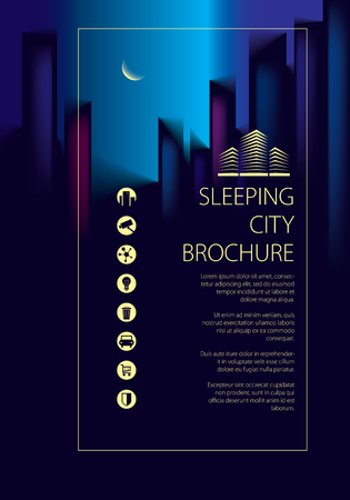 Night city traveling tourist guide book. Brochure, flyer, cover, poster or guidebook template. Vector modern illustration. Stock Illustratie