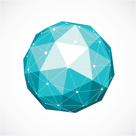 3d vector digital wireframe spherical object made using triangular facets. Geometric polygonal structure created with lines mesh. Low poly shape, green lattice form for use in web design. Illustration