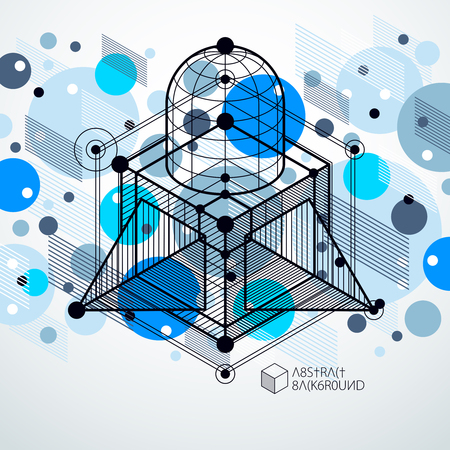 Mechanical scheme, blue vector engineering drawing with 3D cubes and geometric elements. Engineering technological wallpaper made with honeycombs.