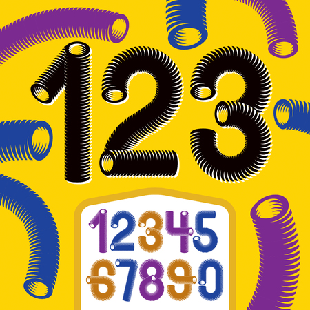 Trendy vector numerals collection. Modern funky numbers from 0 to 9 best for use in logo, poster creation. Made with 3d cylinder tube design, industry style. Illustration