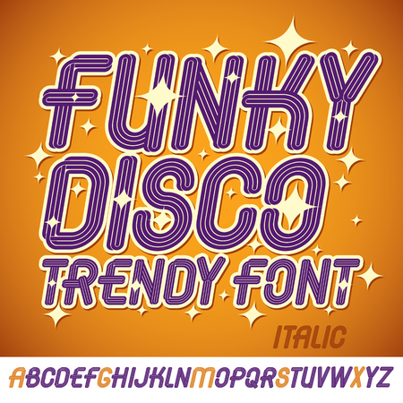 Set of bright italic vector upper case funky English alphabet letters isolated best for use in logotype design for festival announcement