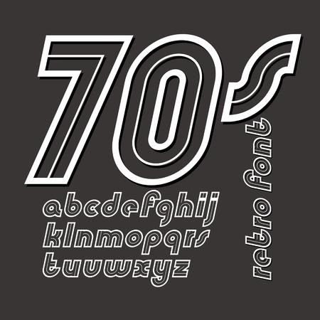 Vector retro old italic lower case alphabet letters, for use as poster design elements Illusztráció