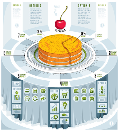 Creative infographics concept, piece of pie idea,vector illustration. Ilustração