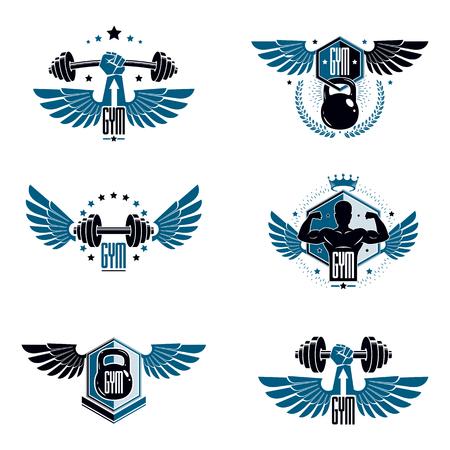 Bodybuilding haltérophilie gym logo modèles de sport, emblèmes vectoriels stylisés rétro ou jeu de badges.