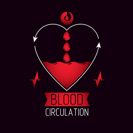 Vector illustration of heart shape full of blood composed with arrows. Cardiovascular system diseases prevention conceptual emblem for use in pharmacy. Illustration