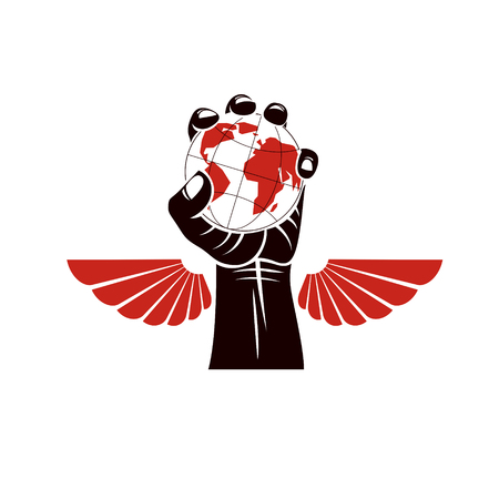 Winged vector emblem composed with raised clenched fist composed with Earth illustration. Authority as the means of global control and manipulation