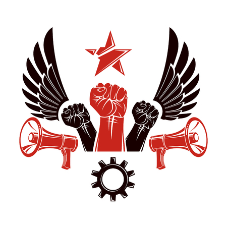 Raised clenched fists vector illustration composed with loudspeakers equipment and engineering cog wheel. Propaganda as the means of manipulation and control Stock fotó - 102340106