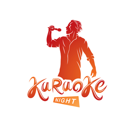 Nightlife entertainment concept, karaoke night vector inscription composed with stage microphone and singing star. Leisure and relaxation lifestyle presentation.