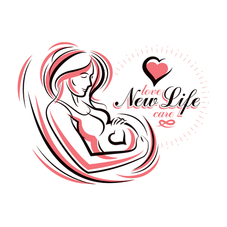 Pregnant female beautiful body outline, mother-to-be drawn vector illustration. Pregnancy and maternity popularization