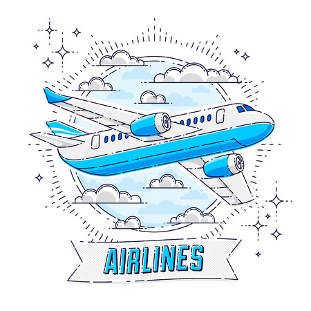 Airlines air travel emblem or illustration with plane airliner, round shape and ribbon with typing. Beautiful thin line vector isolated over white background.