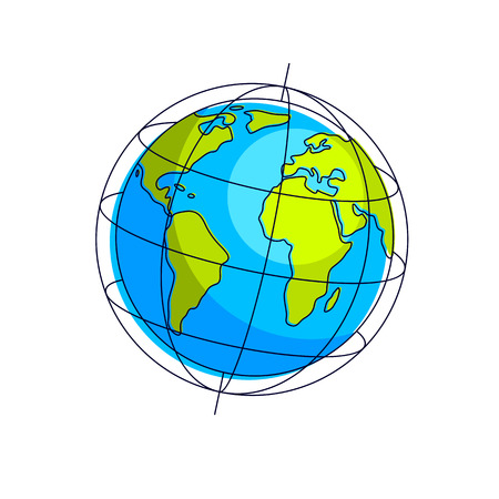 Planet earth vector illustration isolated on white background, America, Africa and Europe continents side. Çizim