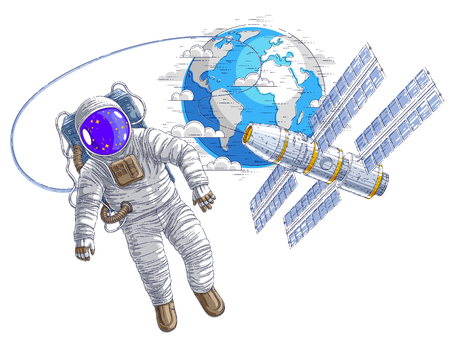 Astronaut flying in open space connected to space station and earth planet in background, spaceman in spacesuit floating in weightlessness and iss spacecraft with solar panels behind him. Vector. Illustration