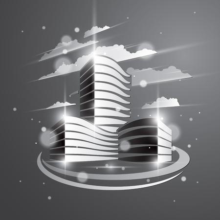 Futuristic building, modern style vector architecture illustration with blurred lights and glares effect. Real estate realty business center grey monochrome design. 3D business office facade in city. Çizim