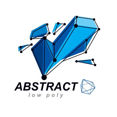 Abstract vector 3d mesh polygonal object. Communication technologies modern logotype.