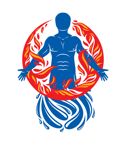 Vector illustration of human, athlete created form water and surrounded by a fireball. Living in harmony with nature, environment protection concept.