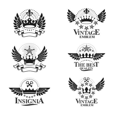 Royal Crowns emblems set. Heraldic vector design elements collection. Retro style label, heraldry logo. Illustration