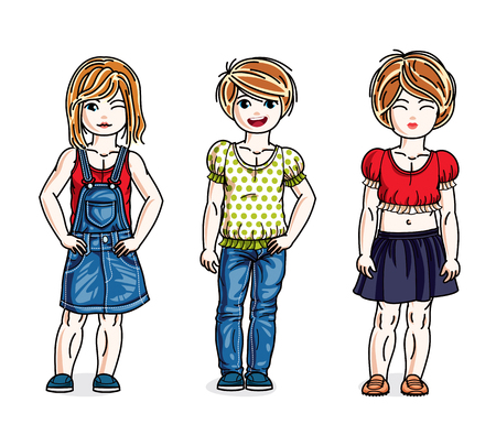 Sweet little girls standing wearing fashionable casual clothes. Vector kids illustrations set. Vettoriali