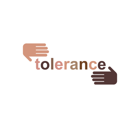 Racial Tolerance concept. Hands of  Caucasian and African ethnicities vector icon isolated on white. Illustration