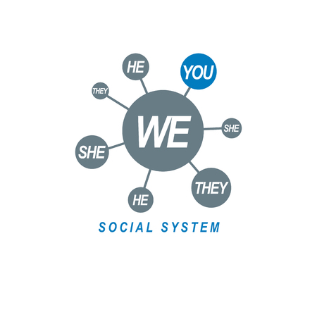 Social Relations conceptual logo, unique vector symbol. Society and Person, social interaction.  Иллюстрация