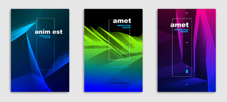 Art linear vector minimalistic trendy brochure designs set, cover templates, geometric halftone gradient. For Banners, Placards, Posters, Flyers. Perfect and unlike, pattern texture.