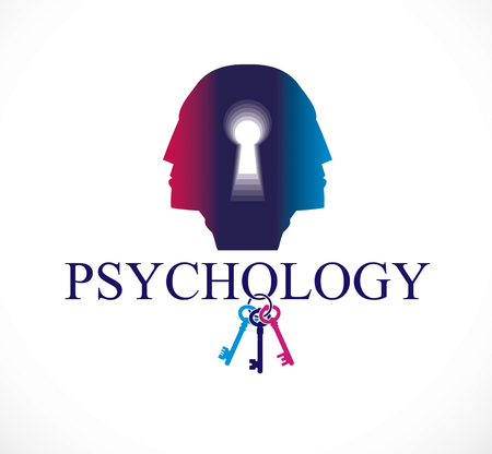Psychology and mental health concept, created with double man head profile and keyhole, psychoanalysis as a key to human nature, individuality and archetype shadow. Vector logo or icon design.