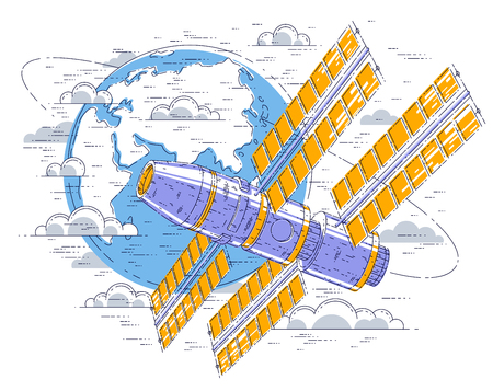 Space station flying orbital flight around earth, spacecraft spaceship iss with solar panels, artificial satellite. Thin line 3d vector illustration.