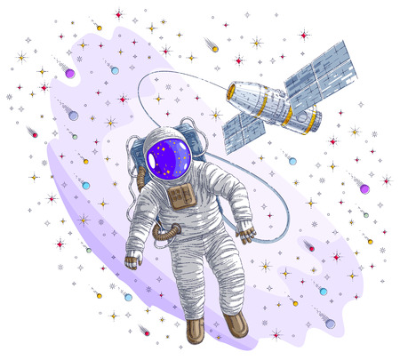 Astronaut went out into open space connected to space station, spaceman floating in weightlessness and spacecraft surrounded by undiscovered planets, stars and comets. Vector illustration.