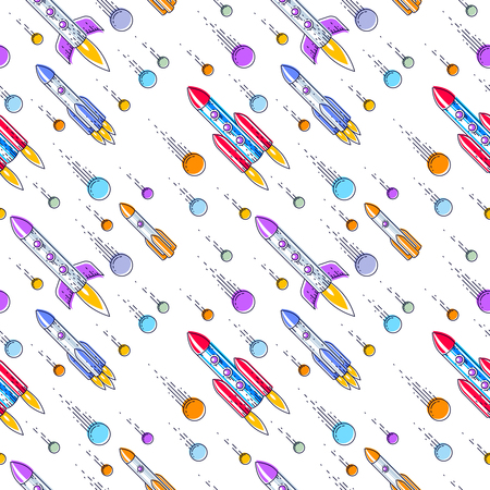 Seamless space background with rockets and comets, undiscovered deep cosmos fantastic and breathtaking textile fabric for children, endless tiling pattern, vector illustration cartoon motif.
