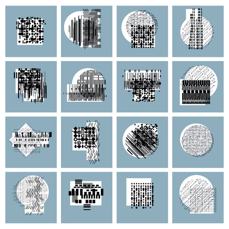 Abstract geometric compositions set, vector backgrounds collection. 矢量图像