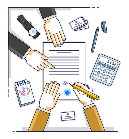 Bank customer write a sign on financial form of money credit with employee helps him and explains the terms of loan or Businessman signs contract paper, top view of desk with people hands. Vector. Ilustração