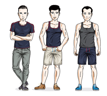 Confident handsome men posing in stylish sportswear. Vector set of beautiful people illustrations. Lifestyle theme male characters.