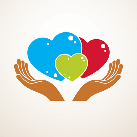 Happy family vector logo or icon created with three colorful hearts of different sizes and care hands. Tender and loving relationship of father, mother and child. Together as one system of relations.