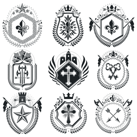 Classy emblems, vector heraldic Coat of Arms. Vintage design elements collection.