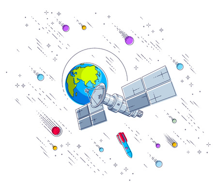 Satellite orbiting around earth, spaceflight, communication spacecraft space station with solar panels and satellite antenna plate, under meteor rain and stars. Vector.