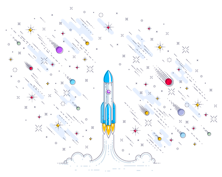 Rocket launch into undiscovered space, surrounded by meteor rain, stars and other elements. Explore universe, risky space science. Thin line 3d vector illustration isolated on white.