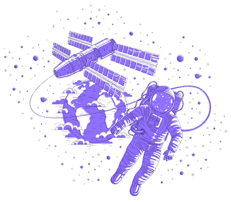 Astronaut went out into open space connected to space station and earth planet in background, spaceman floating in weightlessness and spacecraft, stars and other elements. Vector isolated.