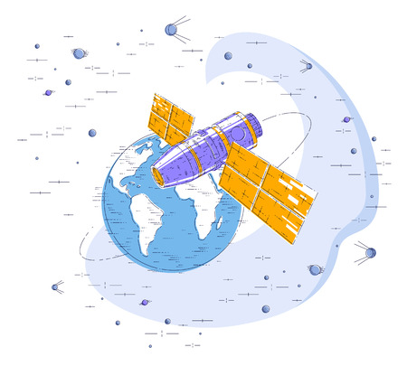 Space station flying orbital flight around earth, spacecraft spaceship iss with solar panels, artificial satellite, surrounded by stars and other elements. Thin line 3d vector illustration.
