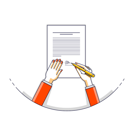 Business woman signs contract official paper document with seal, lady boss signs an order or directive, approve disposal, CEO manager chief, top view of paper with woman hands. Vector illustration. Illustration