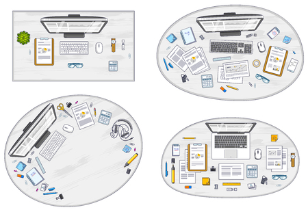 Work desks workspaces top view with PC or laptops and a lot of different stationery objects and analytics documents on tables, look above. All elements are easy to use separately. Vector set. Illustration