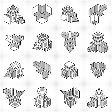 Isometric abstract vector shapes set